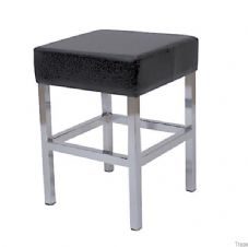 Cuba Chrome Low Stool with Black Seat